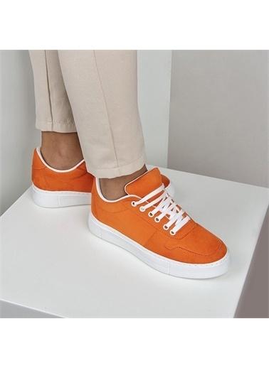 OKHU SHOES Kadın Süet Bağcıklı Günlük Sneaker Spor Ayakkabı Oranj